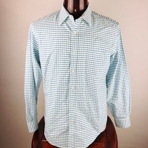 Lands  End Checkered Print Supima Tailored Fit